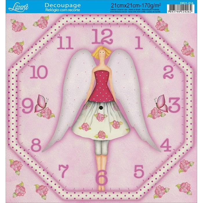 Papel Decoupage Relógio com Recorte DR21-016-Tilda III