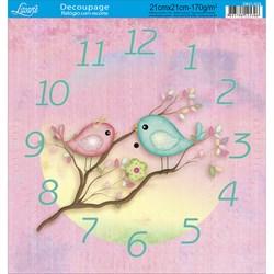 Papel Decoupage Relógio com Recorte DR21-024 Passarinho