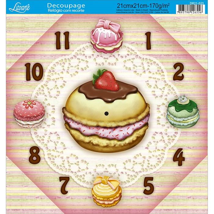 Papel Decoupage Relógio com Recorte DR21-025 Macaron