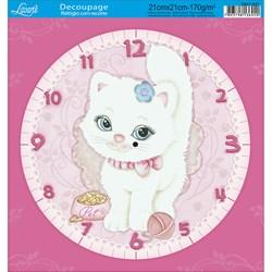 Papel Decoupage Relógio com Recorte DR21-027 Gatinha