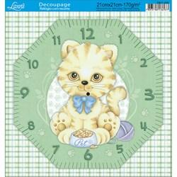 Papel Decoupage Relógio com Recorte DR21-028 Gatinho