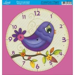 Papel Decoupage Relógio com Recorte DR21-033 Passáro Lilás