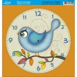Papel Decoupage Relógio com Recorte DR21-034 Passáro Azul