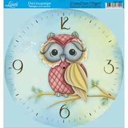 Papel Decoupage Relógio com Recorte DR21-035 Coruja 1