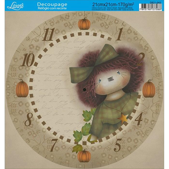 Papel Decoupage Relógio com Recorte DR21-043 Menina