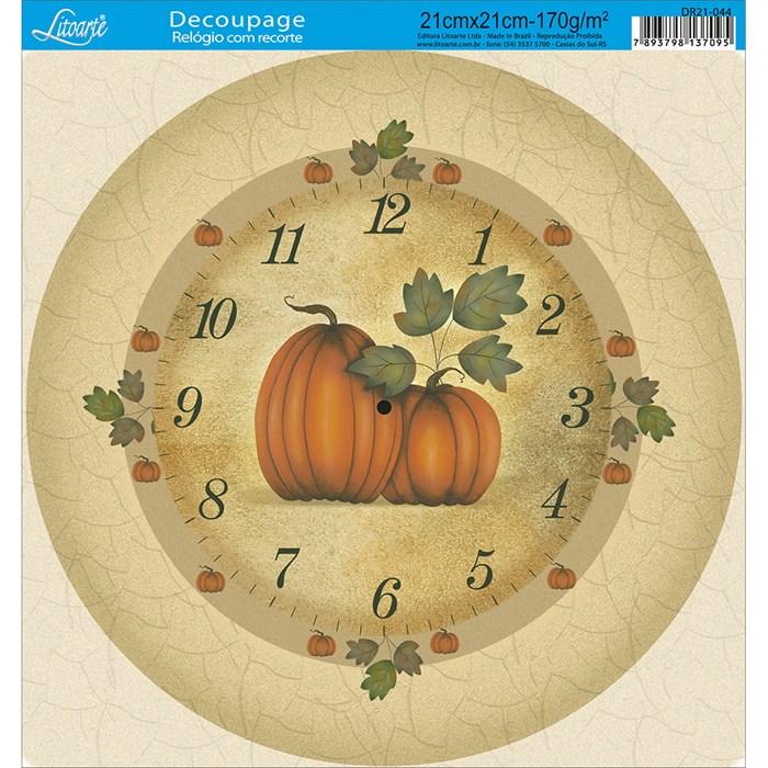 Papel Decoupage Relógio com Recorte DR21-044 Abóbora