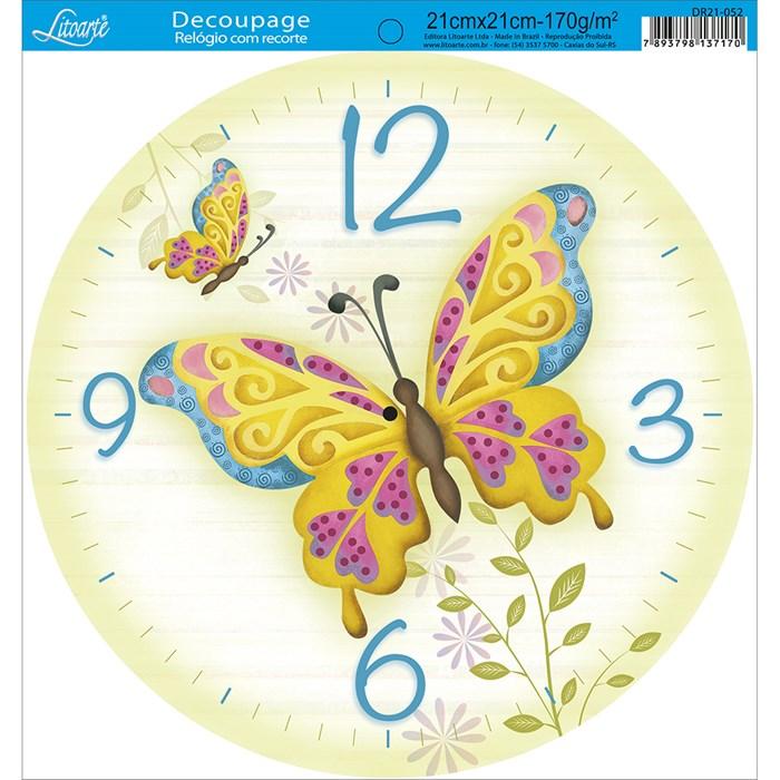 Papel Decoupage Relógio com Recorte DR21-052 Borboleta