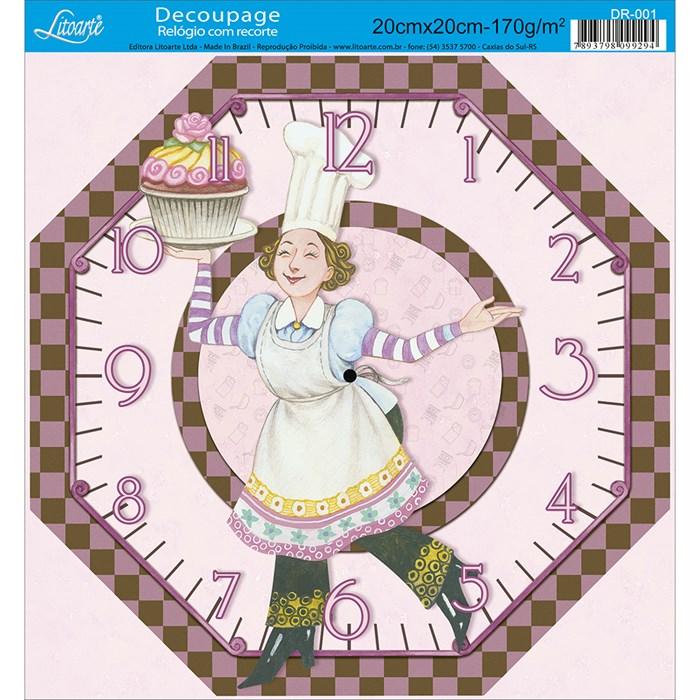 Papel Decoupage Relógio com Recorte Litoarte DR-001 Cupcake