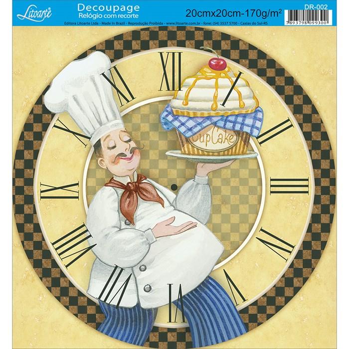 Papel Decoupage Relógio com Recorte Litoarte DR-002 Cupcake