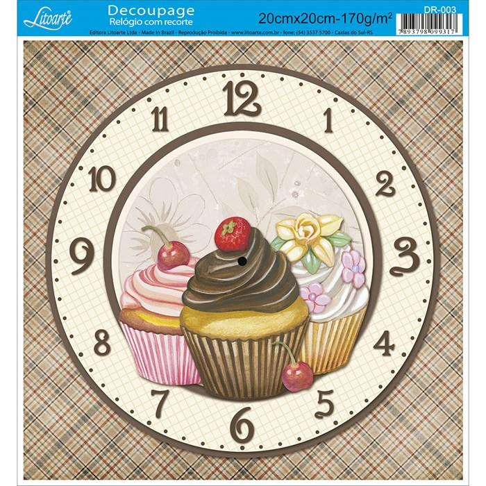 Papel Decoupage Relógio com Recorte Litoarte DR-003 Cupcake