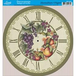 Papel Decoupage Relógio com Recorte Litoarte DR-004 Frutas