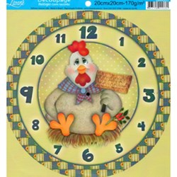 Papel Decoupage Relógio com Recorte Litoarte DR-005 Galinha