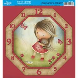 Papel Decoupage Relógio com Recorte Litoarte DR-006 Menina