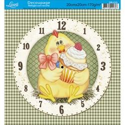 Papel Decoupage Relógio com Recorte Litoarte DR-010 Galinha