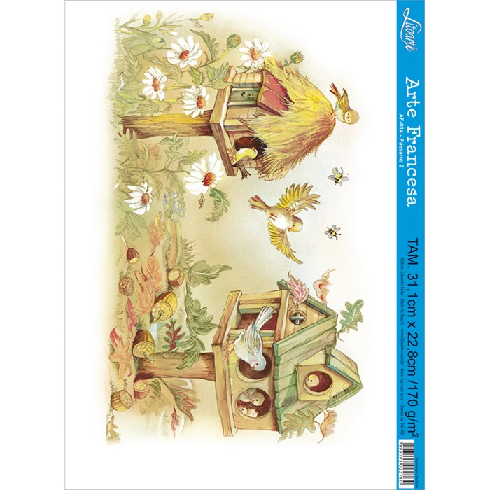 Papel para Arte Francesa Litoarte AF-014 Pássaros II