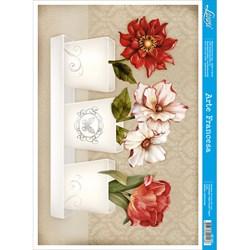 Papel para Arte Francesa Litoarte AF-281 Flores No Vaso
