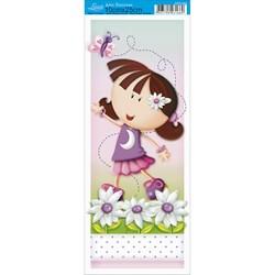 Papel para Arte Francesa Pequena Litoarte AFP-046 Menina e Flores II