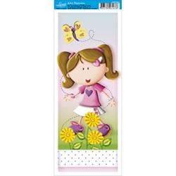 Papel para Arte Francesa Pequena Litoarte AFP-047 Menina e Flores