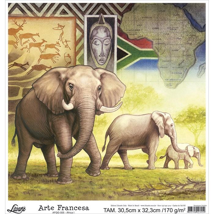 Papel para Arte Francesa Quadrada Grande Litoarte AFQG-005 Elefante