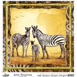 Papel para Arte Francesa Quadrada Grande Litoarte AFQG-007 Zebra