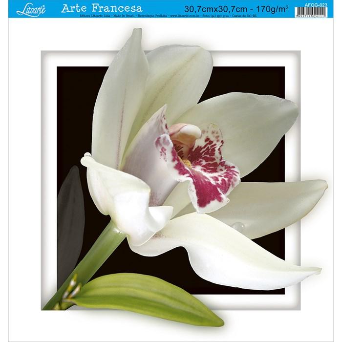 Papel para Arte Francesa Quadrada Grande Litoarte AFQG-023 Orquídea I