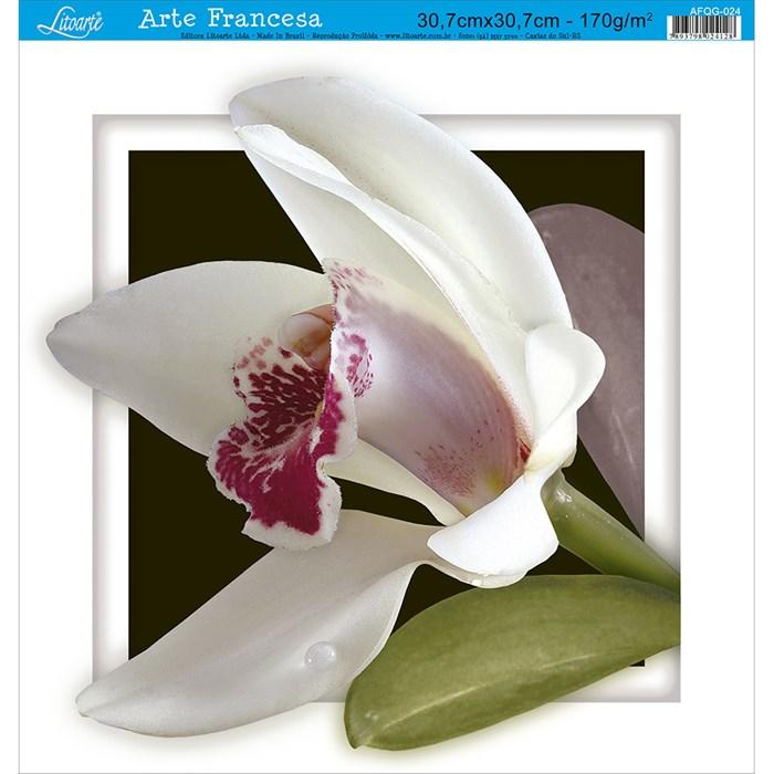 Papel para Arte Francesa Quadrada Grande Litoarte AFQG-024 Orquídea II