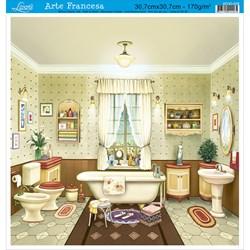 Papel para Arte Francesa Quadrada Grande Litoarte AFQG-038 Banheiro I