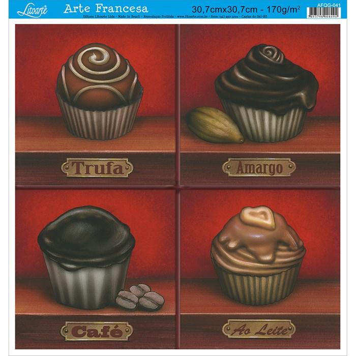 Papel para Arte Francesa Quadrada Grande Litoarte AFQG-041 Chocolates