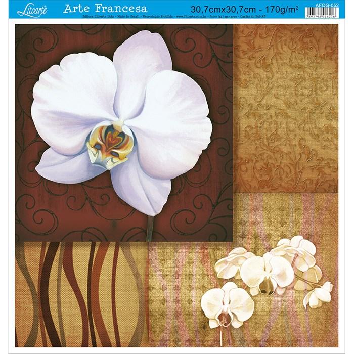 Papel para Arte Francesa Quadrada Grande Litoarte AFQG-052 Orquídea