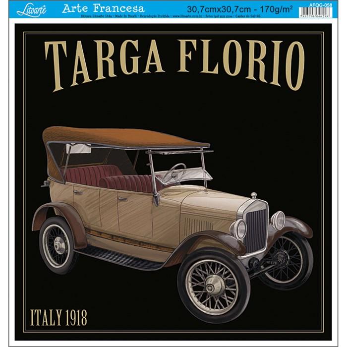 Papel para Arte Francesa Quadrada Grande Litoarte AFQG-058 Targa Flor.