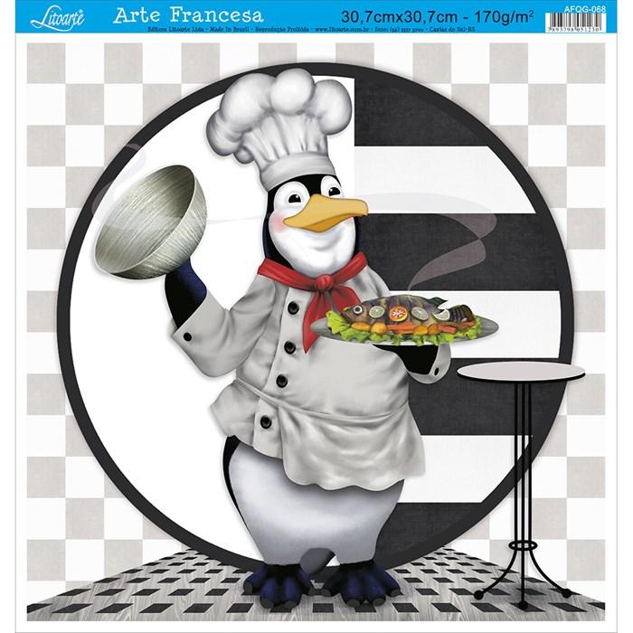 Papel para Arte Francesa Quadrada Grande Litoarte AFQG-068 Pinguim I