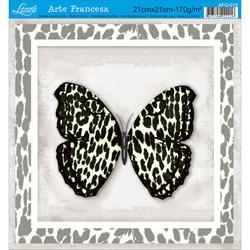 Papel para Arte Francesa Quadrada Litoarte AFQ-015 Borboleta III