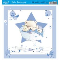 Papel para Arte Francesa Quadrada Litoarte AFQ-037 Urso Bebê I