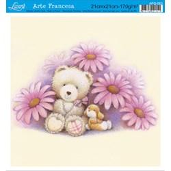 Papel para Arte Francesa Quadrada Litoarte AFQ-053 Ursa Flores I