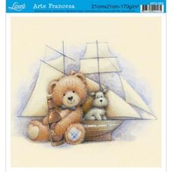 Papel para Arte Francesa Quadrada Litoarte AFQ-055 Urso Navio
