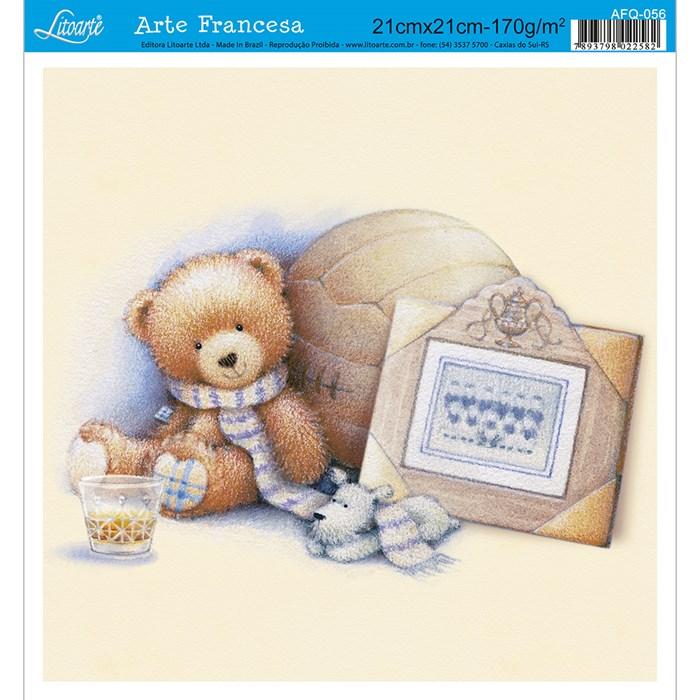Papel para Arte Francesa Quadrada Litoarte AFQ-056 Urso Quadro