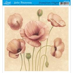 Papel para Arte Francesa Quadrada Litoarte AFQ-073 Papoulas II