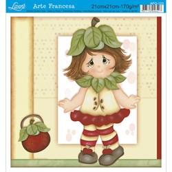 Papel para Arte Francesa Quadrada Litoarte AFQ-123 Menina Fruta