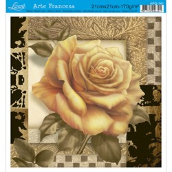 Papel para Arte Francesa Quadrada Litoarte AFQ-141 Rosa Amarela