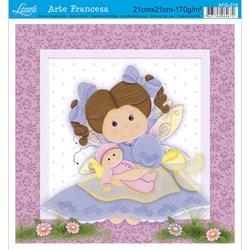 Papel para Arte Francesa Quadrada Litoarte AFQ-219 Menina IIII