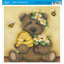 Papel para Arte Francesa Quadrada Litoarte AFQ-271 Urso com Mel