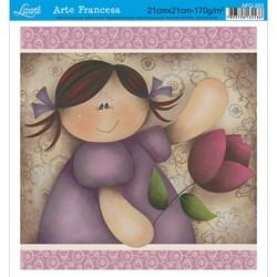 Papel para Arte Francesa Quadrada Litoarte AFQ-293 Menina Flor 2