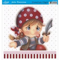 Papel para Arte Francesa Quadrada Litoarte AFQ-298 Menina Pirata