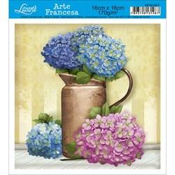 Papel para Arte Francesa Quadrada Litoarte AFXV-021 Vaso com Flores