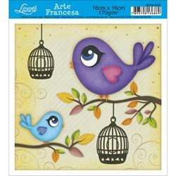 Papel para Arte Francesa Quadrada Litoarte AFXV-055 Pássaros e Gaiola