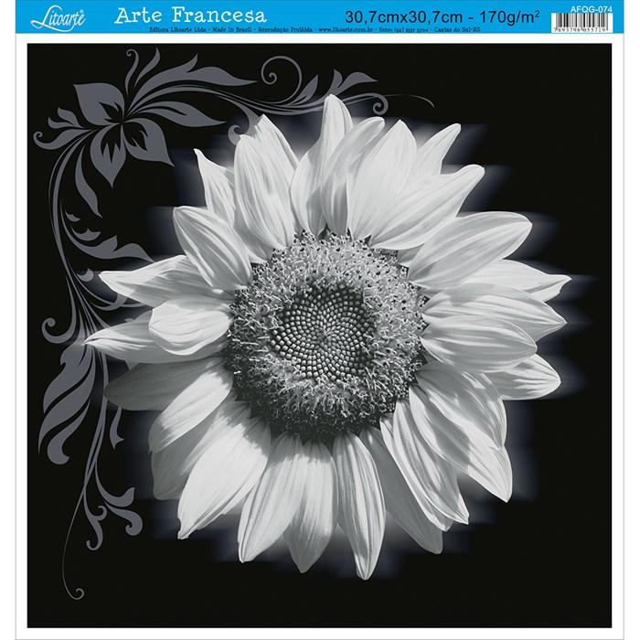 Papel para Arte Francesa Quadrado Grande Litoarte AFQG-074 Girassol II