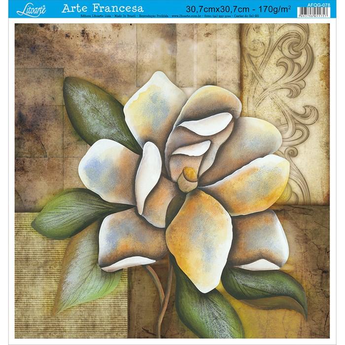 Papel para Arte Francesa Quadrado Grande Litoarte AFQG-078 Flor