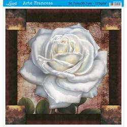 Papel para Arte Francesa Quadrado Grande  Litoarte AFQG-083 Rosa Branca