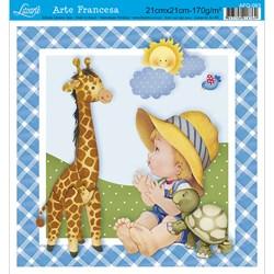 Papel para Arte Francesa Quadrado Litoarte AFQ-093 Menino