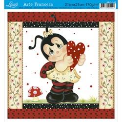Papel para Arte Francesa Quadrado Litoarte AFQ-165 Joaninha I
